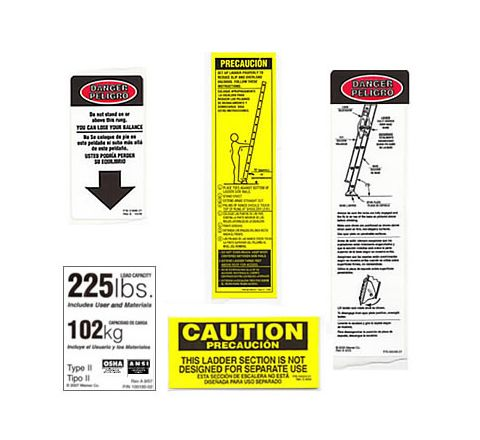 Fiberglass Extension / Straight Ladder Safety Labels