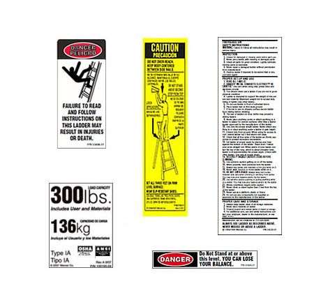 Fiberglass Stepladder / Platform Ladder Safety Labels